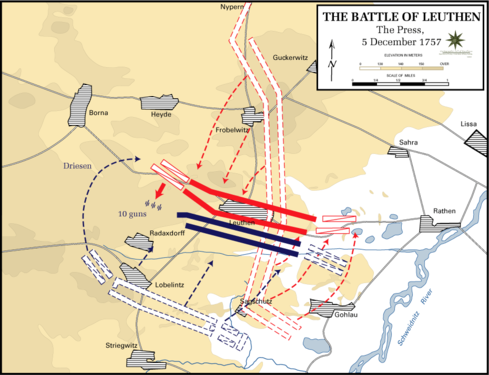 Map showing Charles' efforts to rearrange his troops to counter the Prussian flanking movement