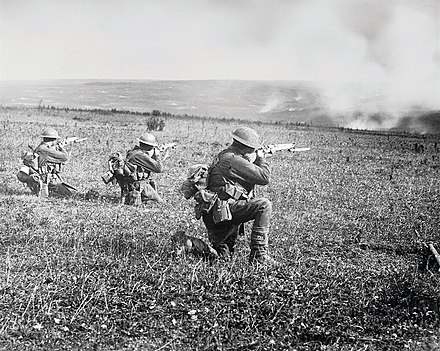Members of the 45th Battalion at the Battle of St. Quentin Canal in September 1918. Battle of the hindenburg line.jpg