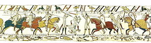 Gyrth Godwinson - Gyrth and his brother's death at the Battle of Hastings, scene 52 of the Bayeux Tapestry. HIC CECIDERUNT LEWINE ET GYRD FRATRES HAROLDI REGIS (Here have fallen dead Leofwine and Gyrth, brothers of King Harold)