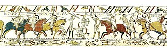 Harold Godwinson - Gyrth and his brother's death at the Battle of Hastings, scene 52 of the Bayeux Tapestry. HIC CECIDERUNT LEWINE ET GYRD FRATRES HAROLDI REGIS (Here have fallen dead Leofwine and Gyrth, brothers of King Harold)