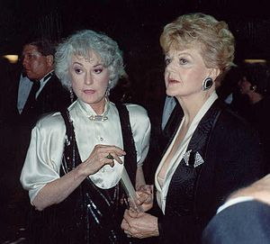 Mame (musical) - Original Broadway cast members Bea Arthur and Angela Lansbury at the 41st annual Emmy Awards (1989). The two had remained close friends over the years.