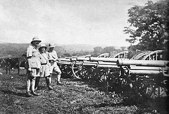 Siege of Saïo - Belgian forces with captured Italian artillery following the battle