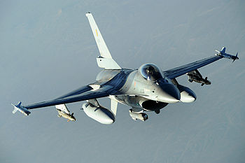 Belgian military F-16 Fighting Falcon conducts a combat patrol over Afghanistan.JPG