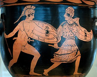 Penthesilea - The battle of Achilles and Penthesileia. Lucanian red-figure bell-krater, late 5th century BC