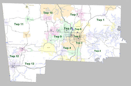 Townships in Benton County, Arkansas as of 2010 Benton County Arkansas 2010 Township Map large.jpg