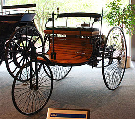 1885-built Benz Patent Motorwagen, the first car to go into production with an internal combustion engine