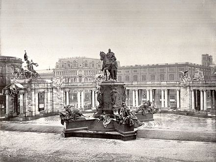 The National Monument to Emperor Wilhelm I in Berlin, Germany, dedicated 1897, nearly 10 years after his death. The monument was destroyed by the communist government in 1950. Berlin Nationaldenkmal Kaiser Wilhelm 1900.jpg