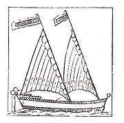 A 17th Century woodcut of a triangular-sailed Bermudian vessel.