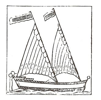 Bermuda rig - A 17th century woodcut of a triangular-sailed Bermudian vessel