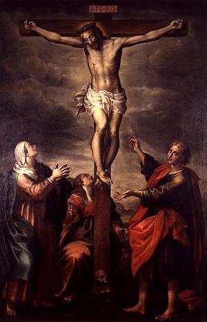Pier Antonio Bernabei - Pier Antonio Bernabei, Crucifixion with Virgin and Saints, oil on canvas, 250 cm x 200 cm, Pinacoteca Stuard, Parma