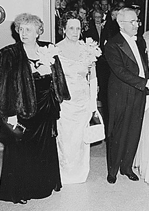 Perle Mesta - First Lady Bess Truman with Perle Mesta (center) and President Harry S. Truman in 1949