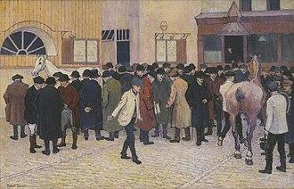 Robert Bevan - Horse Sale at the Barbican, 1912