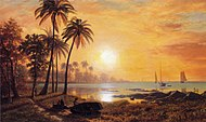 Bierstadt Albert Tropical Landscape with Fishing Boats in Bay.jpg