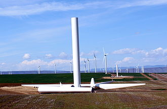 Portland General Electric - Part of the Biglow Canyon Wind Farm, with a turbine under construction