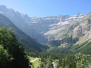 Bigorre - The famous Cirque de Gavarnie, in the very south of Bigorre, with the 442 meters (1,450 ft) Gavarnie waterfall visible in the background