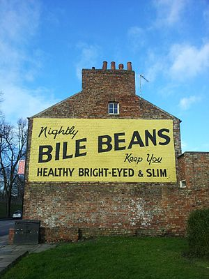Bile Beans - Ghost sign advertising Bile Beans, painted on the wall of 18 Lord Mayors Walk, just outside the city walls in York, England