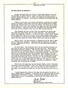 bill gatess open letter to hobbyists from the homebrew computer club newsletter january 1976