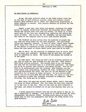 Open letter - Bill Gates's Open Letter to Hobbyists from the Homebrew Computer Club Newsletter, January 1976