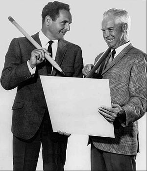 The Atom Ant/Secret Squirrel Show - Photo of Bill Hanna (right) and Joseph Barbera (left) from a television special for the premiere of their new Secret Squirrel and Atom Ant television program.