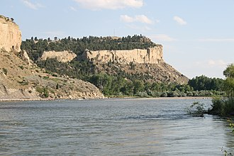 Coburn Hill - Sacrifice Cliff from across the Yellowstone River.