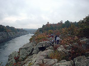 Billy Goat Trail - Scrambling over boulders on Section A. Mather Gorge at left.