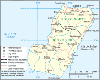 Bioko Island off the west coast of Africa and the northernmost part of Equatorial Guinea