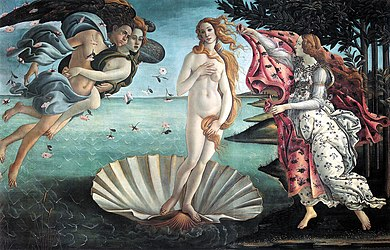 Large rectangular panel.  At the centre, the Goddess Venus, with her thick golden hair curving around her is standing afloat in a large seashell. To the left, two Wind Gods blow her towards the shore where on the right Flora, the spirit of Spring, is about to drape her in a pink robe decorated with flowers, the figures are elongated and serene. The colours are delicate. Gold has been used to highlight the details.