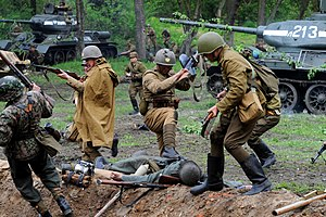 The historical reenactment of the Battle of Berlin (1945) at Modlin fortress.