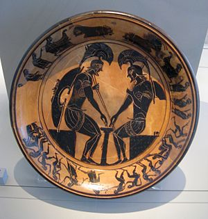 Mind Sports Olympiad - Image: Black figure plate with warriors playing a board game Antikensammlung Berlin 1