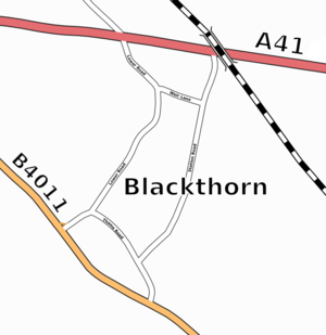 Blackthorn, Oxfordshire - Blackthorn road layout (from OpenStreetMap)