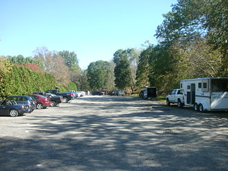 Blairstown, New Jersey - The former Blairstown New York, Susquehanna and Western Railroad station site, as seen in October 2011, as a parking lot for Foot Bridge Park.