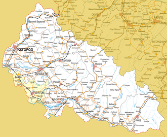 Berehove Raion - Map of Zakarpattia with the Berehove district highlighted (Cyrillic).