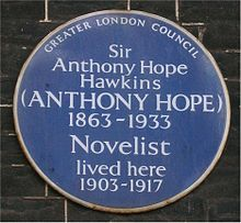Blue plaque Anthony Hope Hawkins.jpg
