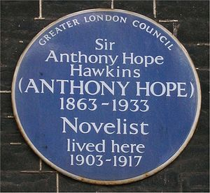 Anthony Hope - Blue plaque in Bedford Square, London