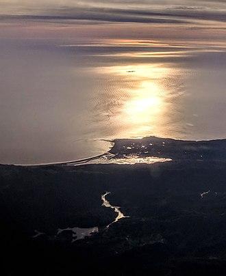 Bolinas Bay - Bolinas, Bolinas Bay, Stinson Beach, Bolinas Lagoon, Farallon Islands, Alpine Lake, Bon Tempe Lake, aerial outlined by reflection of the afternoon sun