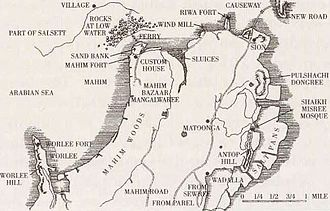 Sewri Fort - Old map of the region (post 1805).