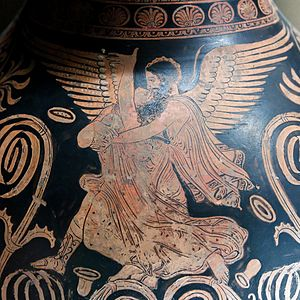 Orithyia - Rape of Orithyia by Boreas. Detail from an Apulian red-figure oinoche, 360 BC.