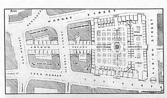 Borough Market, Halifax - An original floor plan of the market