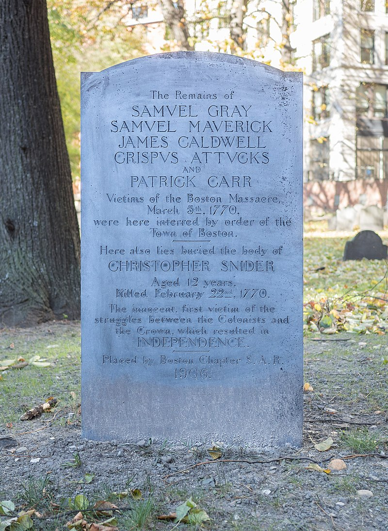 Makam warga sipil yang ditembak tentara Inggris di Boston
