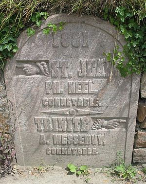 Trinity, Jersey - Boundary stone on the border of Trinity and Saint John, dated 1881