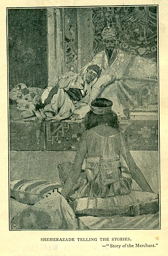 "Frank Brangwyn - ""Sheherezade telling the stories"" (Story of the Merchant from the Arabian Nights, Vol. 1, 1896)"