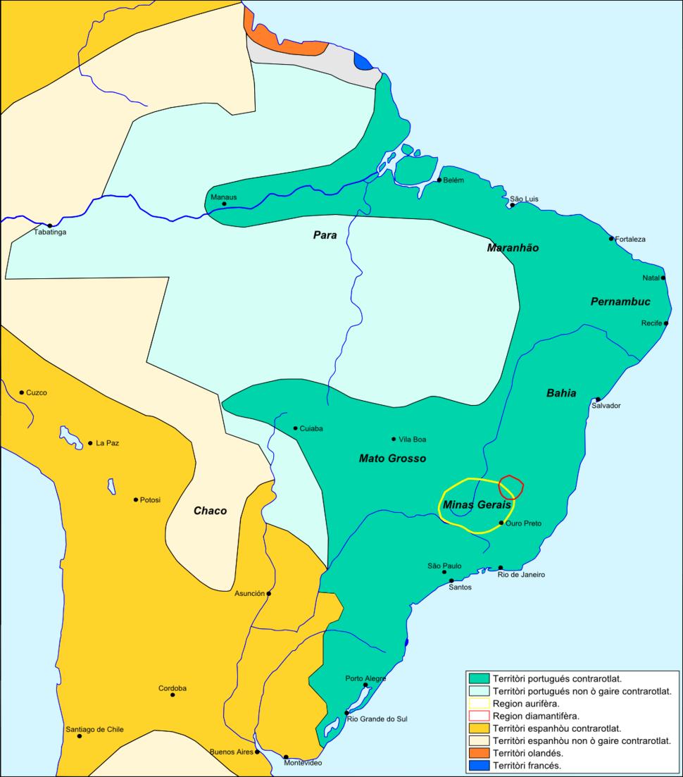 Brasil - Periòde coloniau vèrs 1790