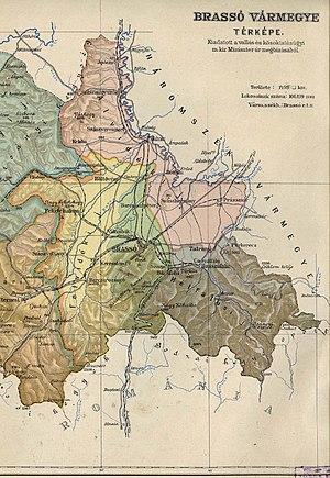 Brassó County - Image: Brassó county administrative map