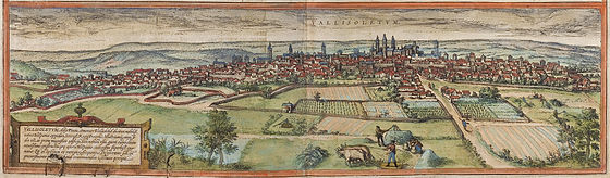 Vallisoletum, 1574, by Braun and Hogenberg. Braun Valladolid UBHD.jpg