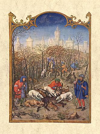 Gerard Horenbout - Miniature depicting the month December, from the Grimani Breviary, made by Horenbout with Alexander and Simon Bening
