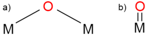 Transition metal oxo complex - a) Doubly bridging and b) terminal oxo ligands.