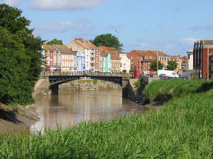 Bridgwater - Bridgwater Town Bridge, the original highest point of navigation on the River Parrett