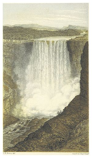 Charles Barrington Brown - Illustration of Kaieteur Falls from Canoe and Camp Life in British Guiana