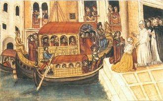 Sebastiano Ziani - The Doge Sebastiano Ziani disembarking from the Bucentaur for the Convent of Charity. Miniature.