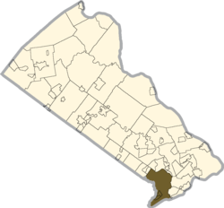 Location of Bensalem Township in Bucks County